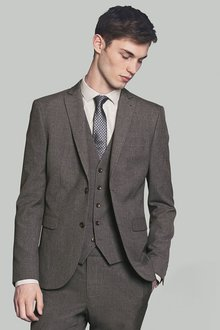 Next Marl Suit: Jacket - Double Breasted Slim Fit