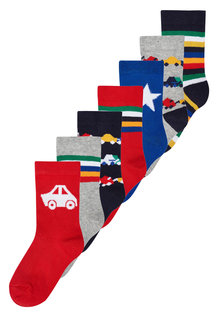 Next Bright Transport Socks Seven Pack (Younger Boys)