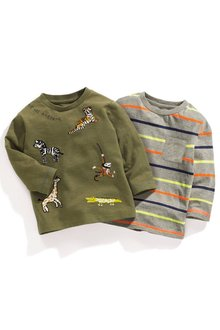 Next Long Sleeve Embroidered Animals T-Shirts Two Pack (3mths-6yrs)