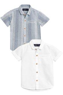 Next Short Sleeve Linen Rich Shirts Two Pack (3mths-6yrs)