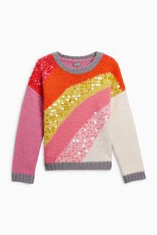 Next Rainbow Sequin Sweater (3-16yrs)
