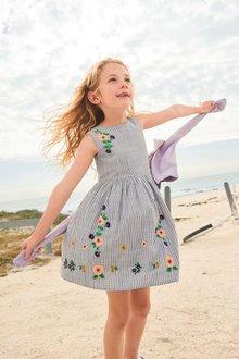 Next Stripe Embroidered Prom Dress (3-16yrs)