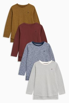 Next Textured Long Sleeve T-Shirts Four Pack (3-16yrs)