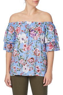 Rockmans Shortsleeve Floral Print Top