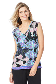 Rockmans Extended Sleeve Paisley Bling Detail Top