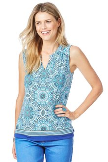 Rockmans Sleeveless Detail Tile Print Top