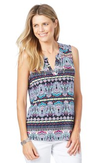 Rockmans Sleeveless Paisley Stripe Print Top