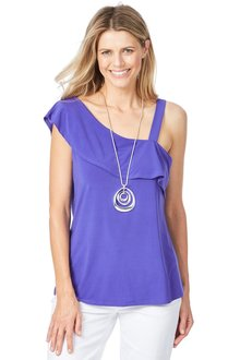 Rockmans One Shoulder Frill Sleeve Top - 200004