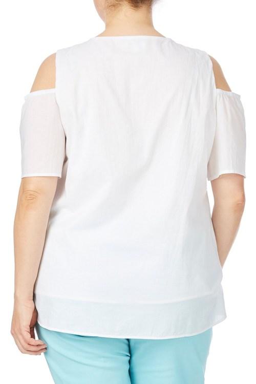 Beme Short Sleeve Cold Shoulder Broderie Top