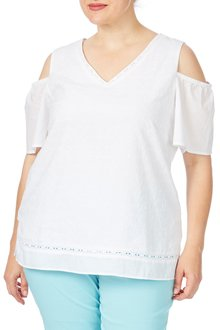 Plus Size - Beme Short Sleeve Cold Shoulder Broderie Top
