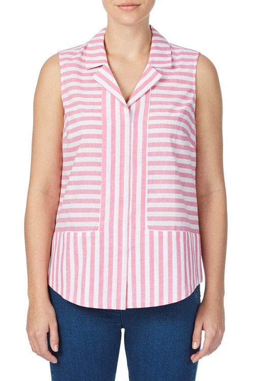 W.Lane Striped Linen Sleevesless Shirt