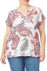 Plus Size - Beme Extended Sleeve Paisley Print Top