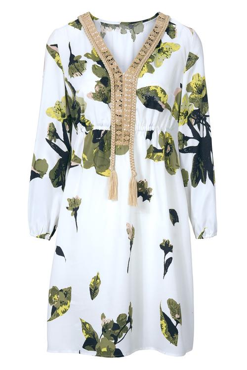 Heine Embellished V-neck Printed Dress