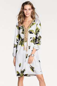 Heine Embellished V-neck Printed Dress