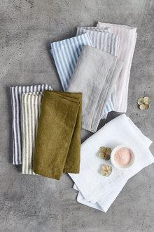 Hampton Stripe Linen Napkin Set of Four - 200555