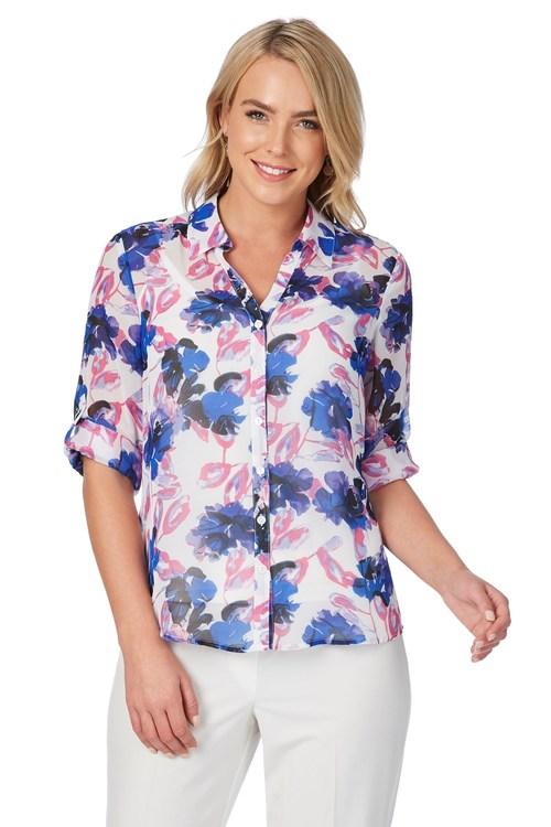 Noni B Odette Floral Print Shirt
