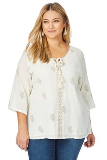 Plus Size - Beme Elbow Sleeve Foil Paisley Print Top