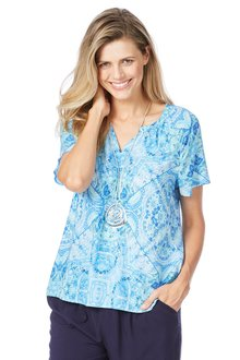 Rockmans Shortsleeve Under Water Print Blouse