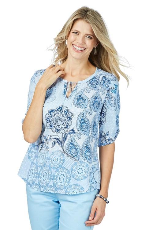 Rockmans Elbow Sleeve Blues Print Shirt