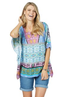 Rockmans Shortsleeve Mixed Print Kaftan