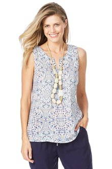Rockmans Sleeveless Tapestry Blouse