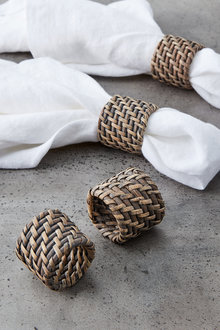 Rattan Napkin Ring Set of Four - 200757