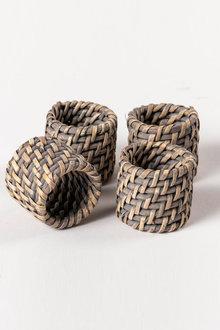 Rattan Napkin Ring Set of Four - 200757