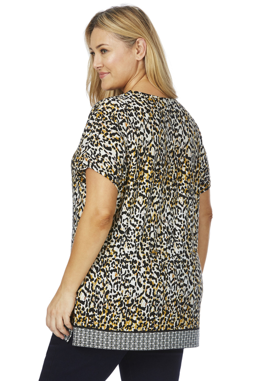 Beme Border Print Leopard Top