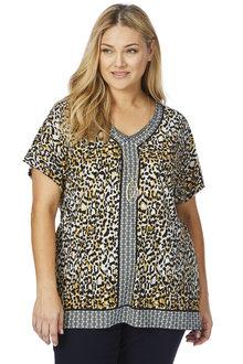 Plus Size - Beme Border Print Leopard Top