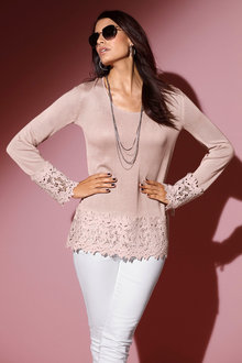 Euro Edit Lace Detail Sweater