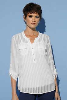 Euro Edit Self Stripe Shirt with Cami