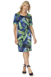 W.Lane Fern Print Short Sleeve Dress
