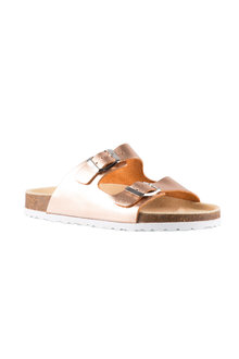 Wide Fit Meg Double Buckle Slide Sandal Flat - 200832