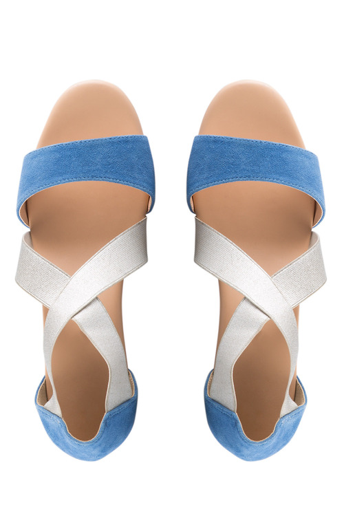 Wide Fit Portia Elasticated Crossover Straps Wedge