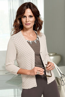 Capture European Fish Scale Pattern Cardigan