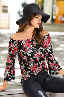 Urban Off Shoulder Floral Print Top - 200962