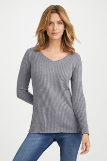 Capture V Neck Ribbed Sweater