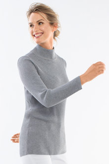 Capture Hi Neck Ribbed Sweater