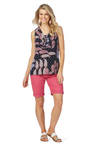 Rockmans Sleeveless Frill Neck Print Top