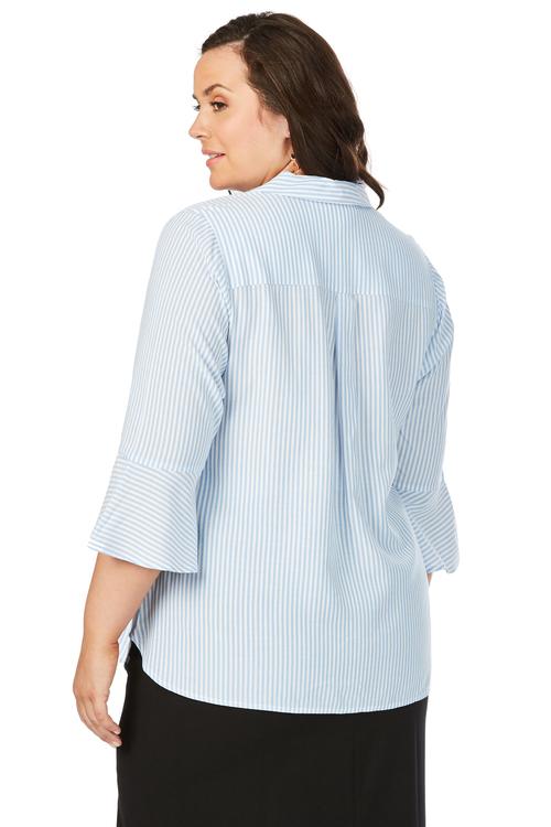 Beme 3/4 Flounce Sleeve Stripe Shirt