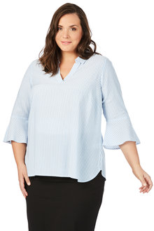 Plus Size - Beme 3/4 Flounce Sleeve Stripe Shirt
