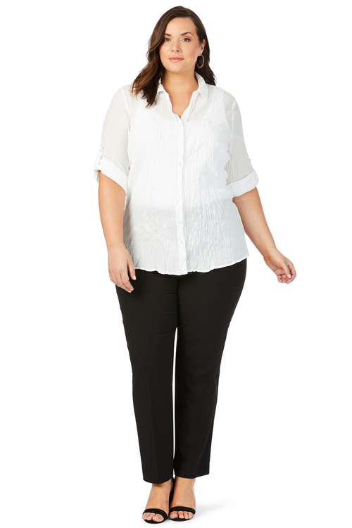 Plus Size - Beme 3/4 Sleeve Embroidered Crushed Shirt