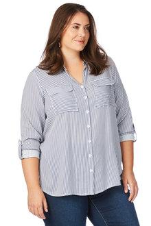 Plus Size - Beme Long Sleeve Roll Up Sleeve Stripe Shirt