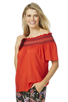 Rockmans Elbow Sleeve Off Shoulder Shirred Top