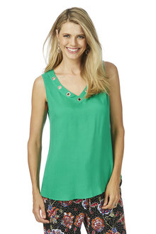 Rockmans Sleeveless Eyelet Neck Top