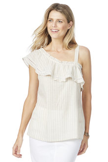 Rockmans Sleeveless One Shoulder Linen Stripe Top