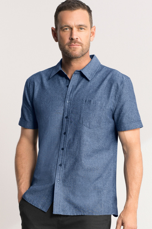 Southcape Short Sleeve Linen Blend Chambray Shirt