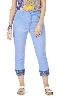 Rockmans Capri Embroidered Straight Leg Jean