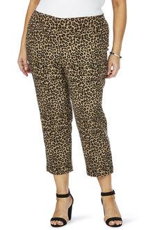 Plus Size - Beme Leopard Print Crop Bengaline Pant