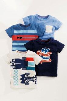 Next Short Sleeve Stripe Cars T-Shirts Four Pack (3mths-6yrs)